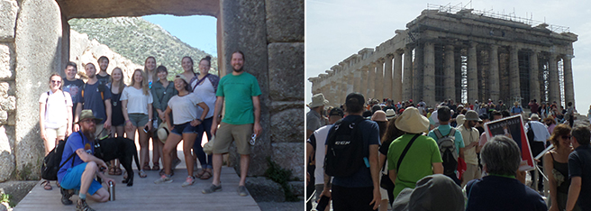 Northeast students visiting the Parthenon in Greece.