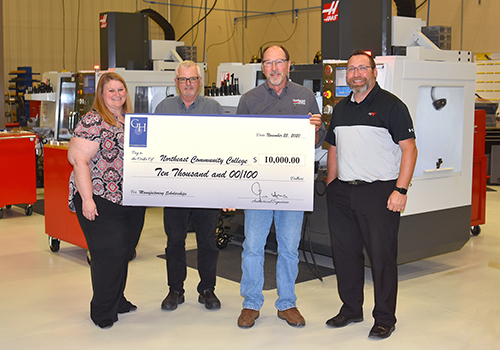 Haas presents $10,000 check to Machining & Manufacturing Automation program