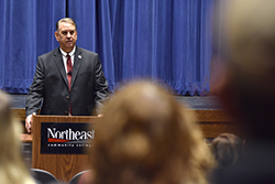 First of three presidential finalists visits Northeast