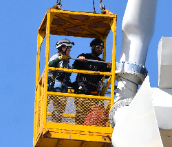 Northeast students assist in changing out wind turbine blades