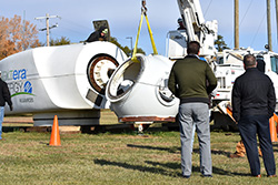 Wind energy students work on donated equipment